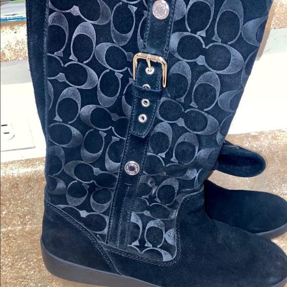 Size 11 black suede coach boots